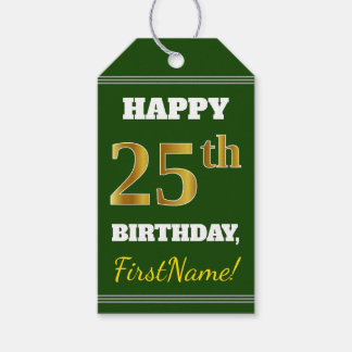 Green, Faux Gold 25th Birthday + Custom Name Gift Tags