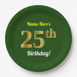 Green, Faux Gold 25th Birthday + Custom Name Paper Plate