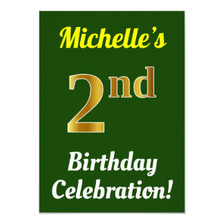Green, Faux Gold 2nd Birthday Celebration + Name Card