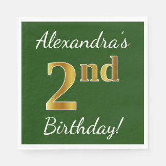 Green, Faux Gold 2nd Birthday + Custom Name Disposable Napkins