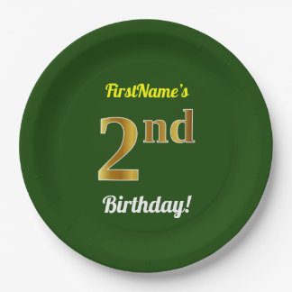 Green, Faux Gold 2nd Birthday + Custom Name Paper Plate