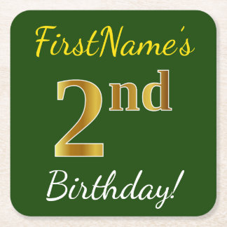 Green, Faux Gold 2nd Birthday + Custom Name Square Paper Coaster