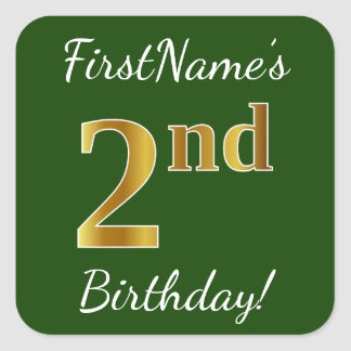 Green, Faux Gold 2nd Birthday + Custom Name Square Sticker