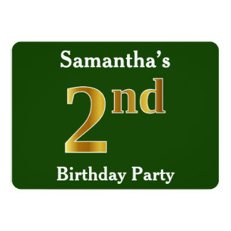 Green, Faux Gold 2nd Birthday Party + Custom Name Card