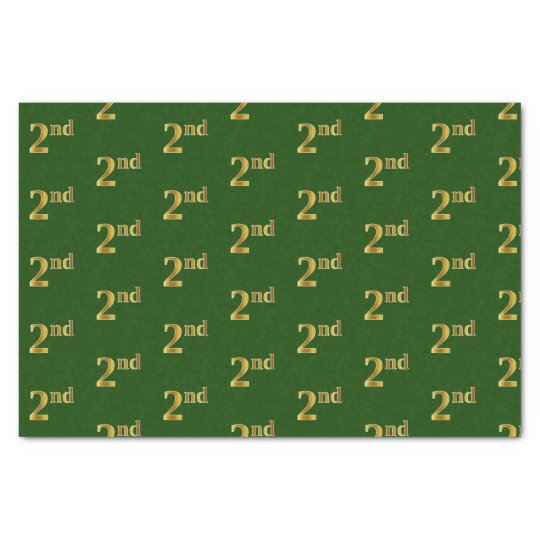 Green, Faux Gold 2nd (Second) Event Tissue Paper