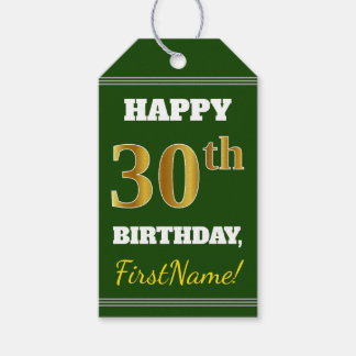 Green, Faux Gold 30th Birthday + Custom Name Gift Tags