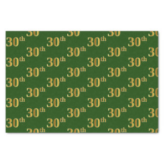 Green, Faux Gold 30th (Thirtieth) Event Tissue Paper
