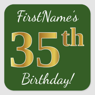 Green, Faux Gold 35th Birthday + Custom Name Square Sticker