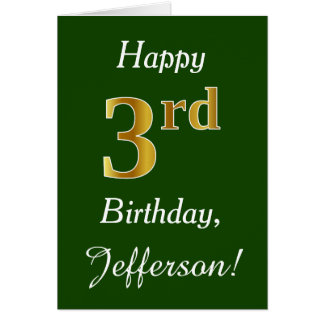 Green, Faux Gold 3rd Birthday + Custom Name Card