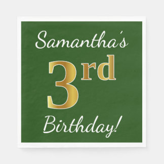 Green, Faux Gold 3rd Birthday + Custom Name Paper Napkin