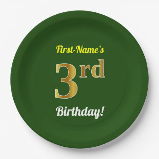 Green, Faux Gold 3rd Birthday + Custom Name Paper Plate