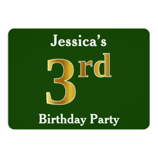 Green, Faux Gold 3rd Birthday Party + Custom Name Card