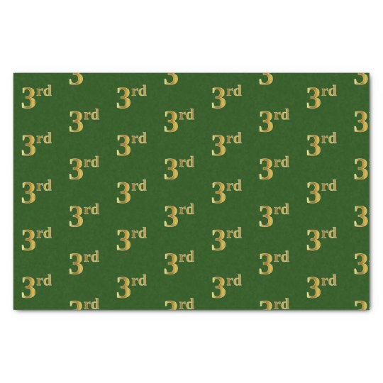 Green, Faux Gold 3rd (Third) Event Tissue Paper