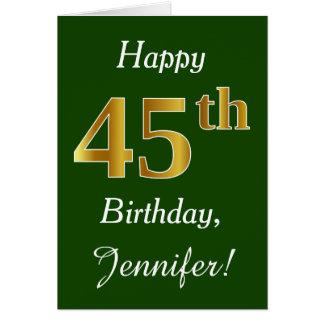 Green, Faux Gold 45th Birthday + Custom Name Card
