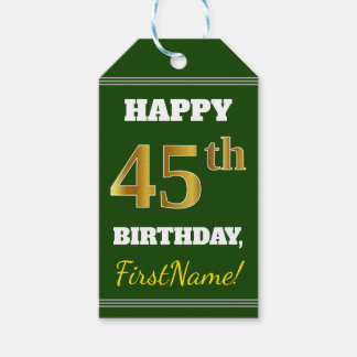 Green, Faux Gold 45th Birthday + Custom Name Gift Tags