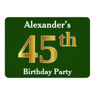 Green, Faux Gold 45th Birthday Party + Custom Name Card
