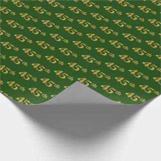 Green, Faux Gold 45th (Forty-Fifth) Event Wrapping Paper