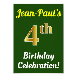 Green, Faux Gold 4th Birthday Celebration + Name Card