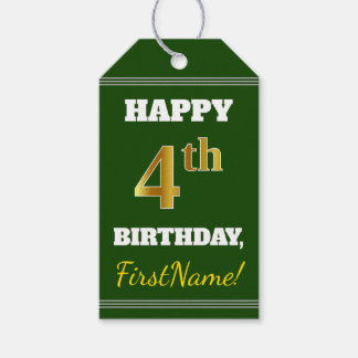 Green, Faux Gold 4th Birthday + Custom Name Gift Tags