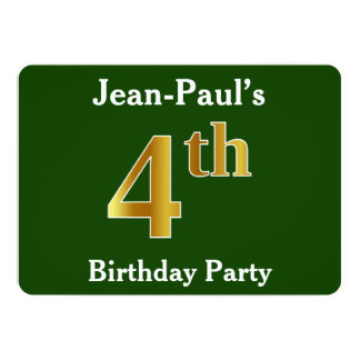 Green, Faux Gold 4th Birthday Party + Custom Name Card