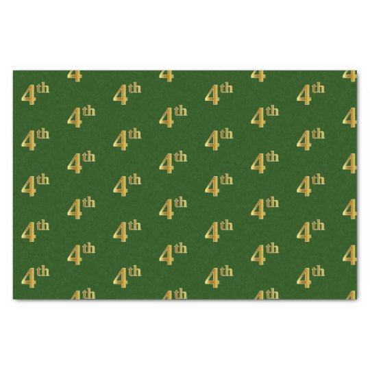Green, Faux Gold 4th (Fourth) Event Tissue Paper