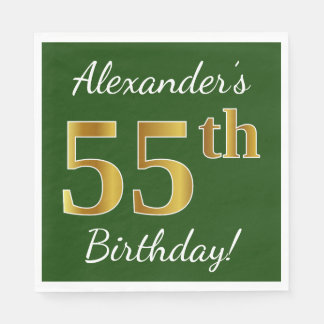 Green, Faux Gold 55th Birthday + Custom Name Paper Napkin