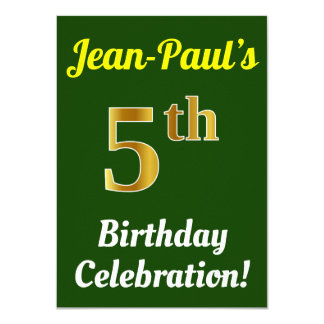 Green, Faux Gold 5th Birthday Celebration + Name Card