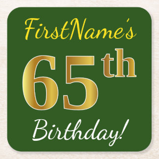 Green, Faux Gold 65th Birthday + Custom Name Square Paper Coaster