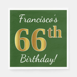 Green, Faux Gold 66th Birthday + Custom Name Disposable Napkin