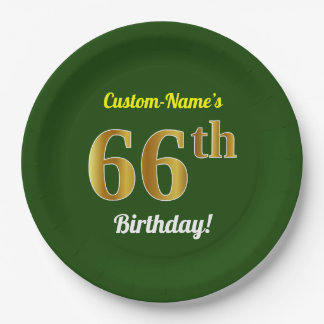 Green, Faux Gold 66th Birthday + Custom Name Paper Plate