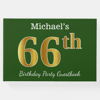 Green, Faux Gold 66th Birthday Party + Custom Name Guest Book