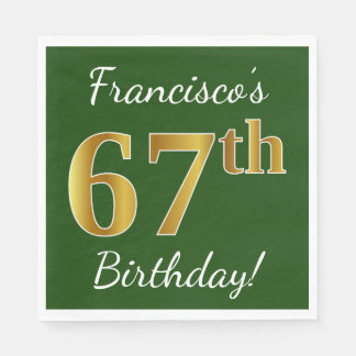 Green, Faux Gold 67th Birthday + Custom Name Paper Napkin