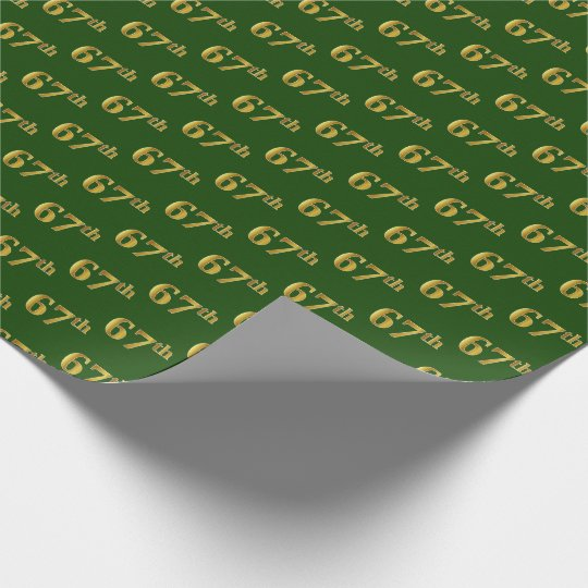Green, Faux Gold 67th (Sixty-Seventh) Event Wrapping Paper