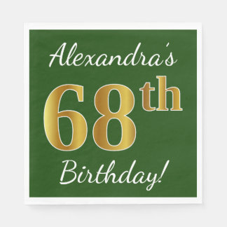 Green, Faux Gold 68th Birthday + Custom Name Paper Napkins