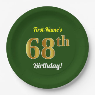 Green, Faux Gold 68th Birthday + Custom Name Paper Plate