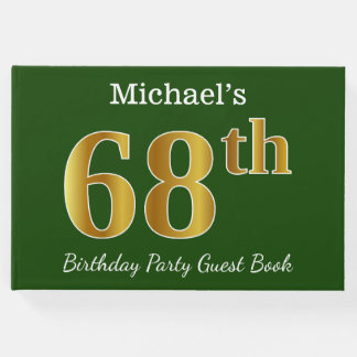 Green, Faux Gold 68th Birthday Party + Custom Name Guest Book