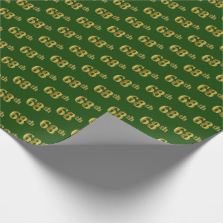 Green, Faux Gold 68th (Sixty-Eighth) Event Wrapping Paper