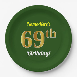Green, Faux Gold 69th Birthday + Custom Name Paper Plate