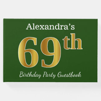 Green, Faux Gold 69th Birthday Party + Custom Name Guest Book