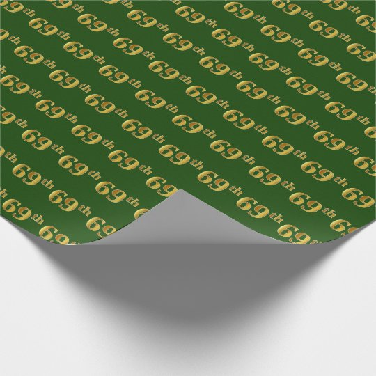 Green, Faux Gold 69th (Sixty-Ninth) Event Wrapping Paper