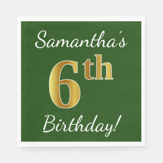 Green, Faux Gold 6th Birthday + Custom Name Disposable Napkins