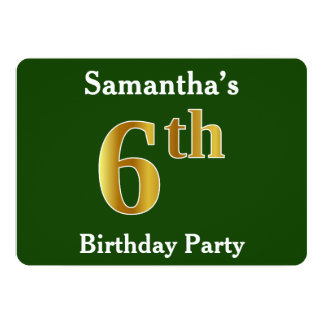 Green, Faux Gold 6th Birthday Party + Custom Name Card
