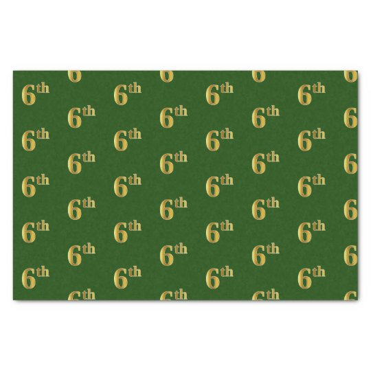 Green, Faux Gold 6th (Sixth) Event Tissue Paper