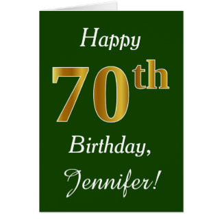 Green, Faux Gold 70th Birthday + Custom Name Card
