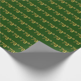 Green, Faux Gold 70th (Seventieth) Event Wrapping Paper