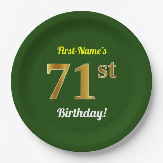 Green, Faux Gold 71st Birthday + Custom Name Paper Plate