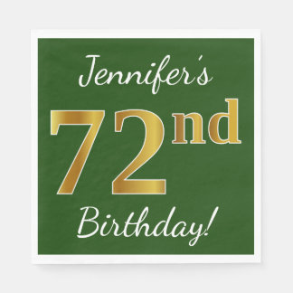 Green, Faux Gold 72nd Birthday + Custom Name Paper Napkin