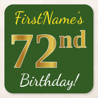 Green, Faux Gold 72nd Birthday + Custom Name Square Paper Coaster