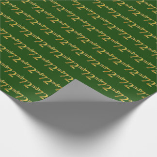 Green, Faux Gold 72nd (Seventy-Second) Event Wrapping Paper