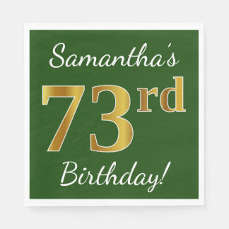 Green, Faux Gold 73rd Birthday + Custom Name Paper Napkin